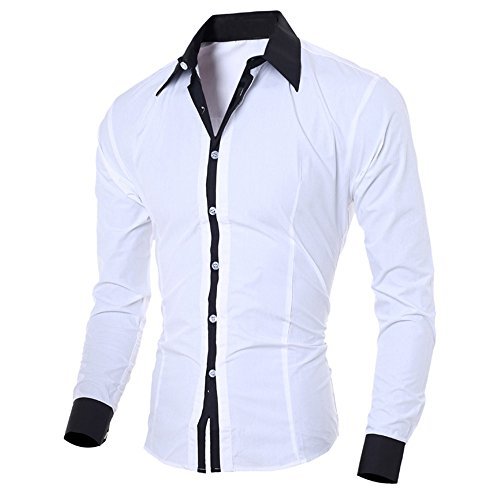 Wobuoke Fashion Personality Men's Casual Slim Autumn Long-Sleeved Colorblock Button Shirt Top Blouse