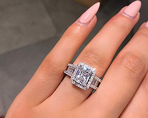 rincess Cut Cubic Zirconia Ring 925 Sterling Silver Engagement Wedding Ring