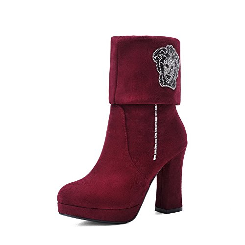 Allhqfashion Women's PU Frosted Round Closed Toe Mid-Calf High-Heels Boots Red vFwwi4K