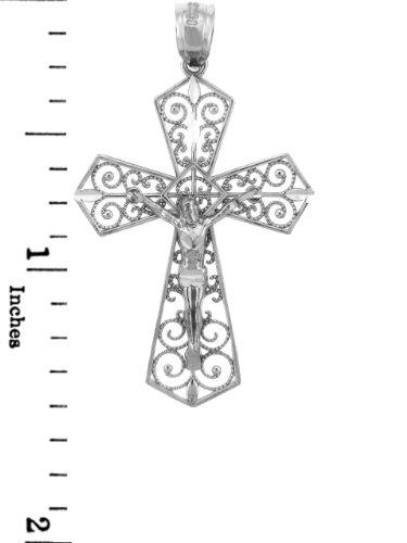 10 ct 471/1000 Or Blanc Crucifix - La Beloved Crucifix Pendentif