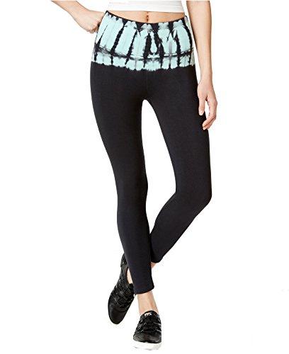 Calvin Klein Performance Women's Tie-Dye Cotton Leggings (Large, Black/Atlantic Blue)