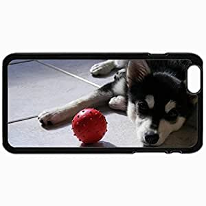 Customized Cellphone Case Back Cover For iPhone 6, Protective Hardshell Case Personalized Dog Dog Puppy Husky View Ball Black
