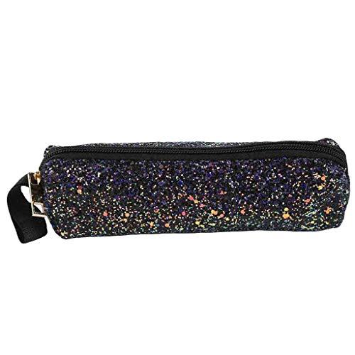 JJLIKER Sequins Felt Pen Pencil Case Stationery Pouch Cosmetic Zipper Pack Student Coin Purse Makeup Bag Clutch ()
