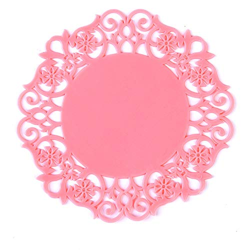 Receiving Tray Lace Flower Hollow Doilies Silicone Coaster Coffee Table Cup Mats Pad Placemat Kitchen Accessories Cooking Tools,Pink