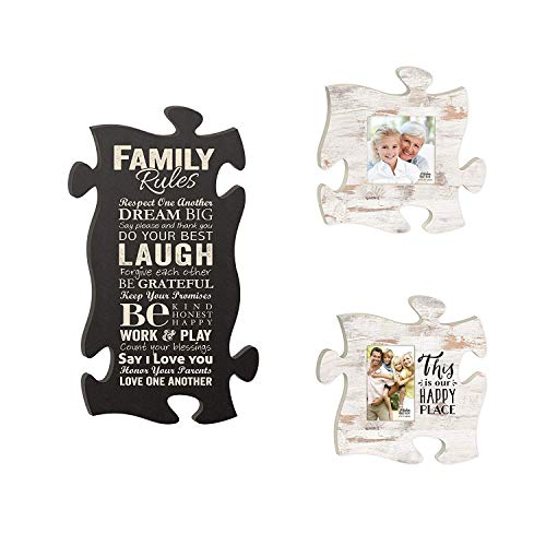 P. Graham Dunn This is Our Happy Place Family Rules Puzzle Piece Interlocking Wall Plaque and Frames Set of 3
