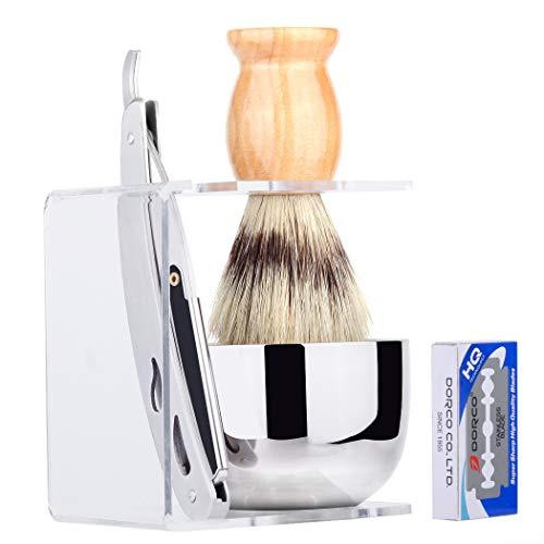 Grandslam Men Shave Set Kit Stainless Straight Razor Shaving Brush Stand Bowl +10 Blades