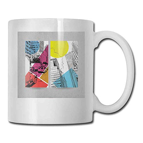City Tea Cup Urban Illustration with Comic Strip Design Trucks and Van Architecture Modern Times For Family and Friend Multicolor 11oz