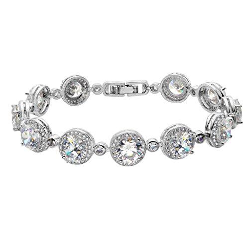 EVER FAITH® Femme Prong Cubic Zirconia Mariage Rond Romantique Bracelet Clair Ton d'Argent