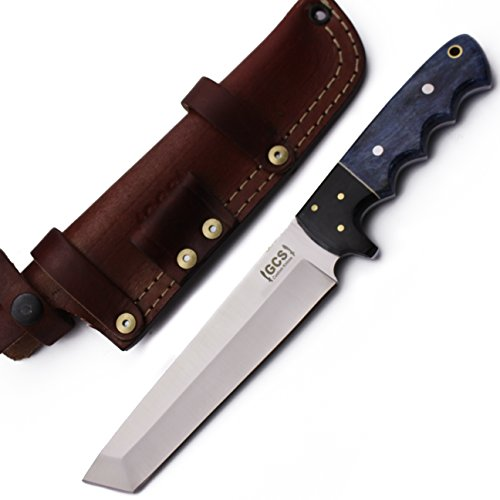 GCS Custom Handmade Coloured Bone Handle D2 Tool Steel Skinner Bushcraft Knife Buffalo Hide Sheath 177