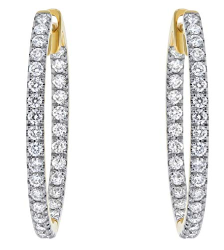 (Olivia Paris 14k Yellow Gold 1 Carat cttw Round Brilliant Diamond Hoop Earrings (H-I, SI2-I1) 1