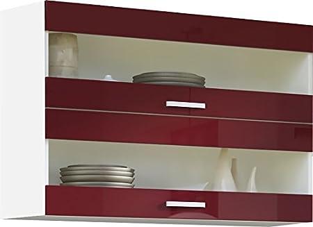 Meuble Haut De Cuisine Design 100 Cm Avec 2 Portes Vitrees