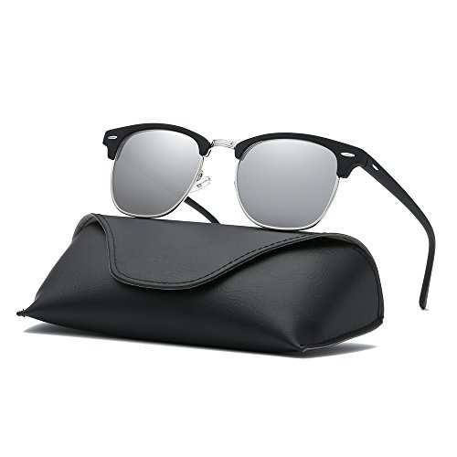 Ray Parker Classic Clubmaster Horn Rimmed Semi Rimless with Polarized Lenses for Men Sunglasses RP6623 with Black Frame/Silver - And Silver Clubmasters Black
