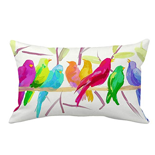 YANGYULU Oil Painting Colorful Abstract Linen Birds Stand On Tree Branch Super Soft Throw Lumbar Waist Pillow Case Cushion Cover Home Office Decorative Rectangle 12 X 20 Inches (OilPainting Birds-4)