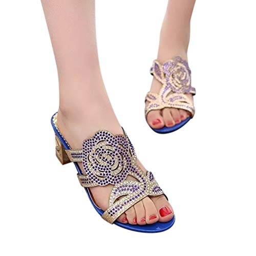Women Rhinestones Sandals, NDGDA Casual Crystal Outdoor Slippers Square Heel Shoes Flower Sandals