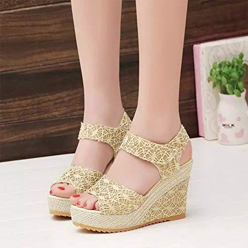 Design Lady Open Shoes Summer High Fish Toe Charming Zapatos Lace Moda Women Wedge Sexy Sandalias Head Heels 4wqvXxU5XS