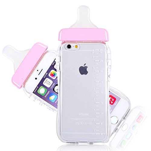 - BlastCase Baby Bottle Cute 3D TPU Soft Pregnant Woman Milk Bottle Clear Case Lanyard Case Cover for iPhone 6 (Pink)