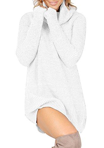 White Turtleneck Dress (Jusfitsu Women's Turtleneck Long Sleeve Slim Fit Knit Pullover Sweater Dress White)