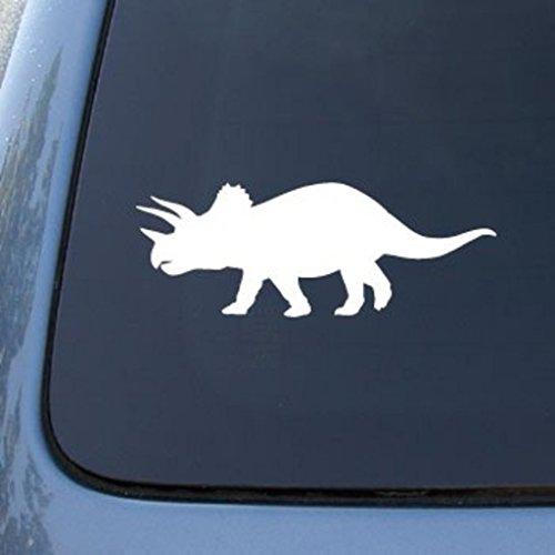 "CMI566 Triceratop Dinosaur Decal | Die Cut Vinyl Car Decal Sticker for Car Window Bumper Truck Laptop Ipad Notebook Computer Skateboard Motorcycle | Premium White Vinyl Decal | 6"" X 2.2"""
