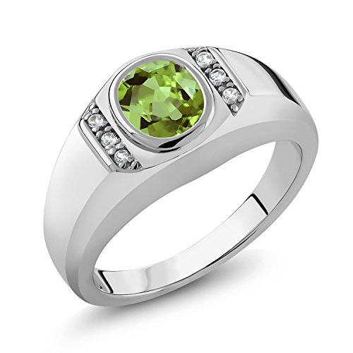 Gem Stone King 1.39 Ct Oval Green Peridot White Created Sapphire 925 Sterling Silver Men's Ring (Size 10)
