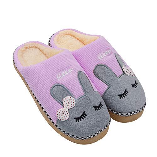 (Sporzin House Slippers for Women Men Cozy Warm Slippers-Winter Anti Skid Cotton Cute Slipper Indoor Shoes)