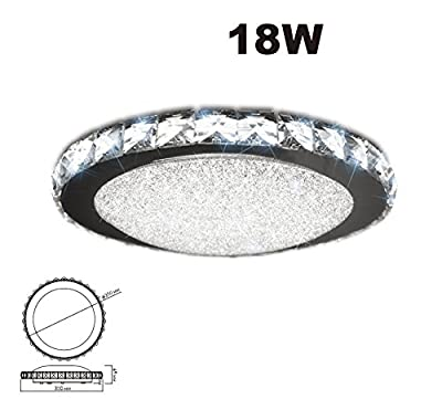 "iLett Crystal Round LED 18 Watts Ceiling Light, Russian Style, 14"", 6000K (Cool White), Compact, Multi-Voltage (85V-265V)"