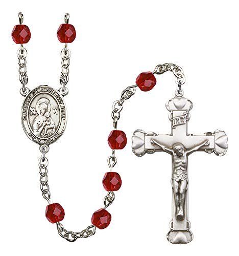 (Silver Plate Rosary features 6mm Ruby Fire Polished beads. The Crucifix measures 1 5/8 x 1. The centerpiece features a O/L of Perpetual Help medal. Patron Saint Never Failing Hope)