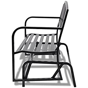 UBaymax Black Premium Steel Patio Chair Hanging Porch Swing Bench Seat Outdoor Park Yard Furniture Weather Resistant Rocking Chairs,for Two Person,Black