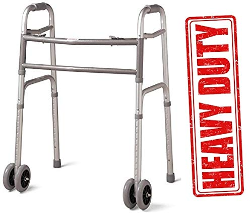 Heavy Duty Bariatric Extra Wide Folding Walker with 5'' Wheels by Fidler Medical