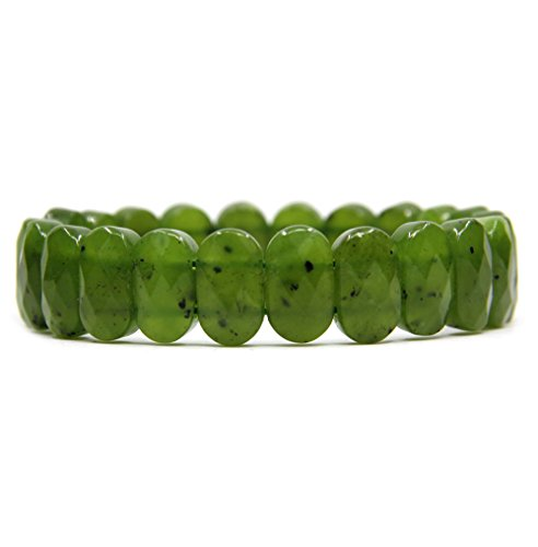 Natural Canadian Nephrite Jade Gemstone 14mm Faceted Oval Beads Stretch Bracelet 7