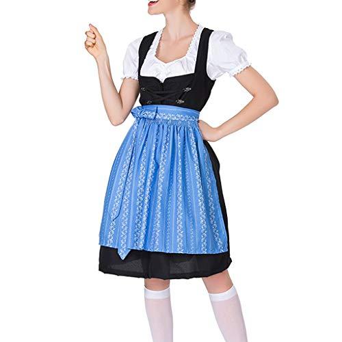 Tomppy Women Beer Babe Oktoberfest Costume Printed Dirndl Fancy Dress Carnival Halloween Maid Cosplay Costume Blue -