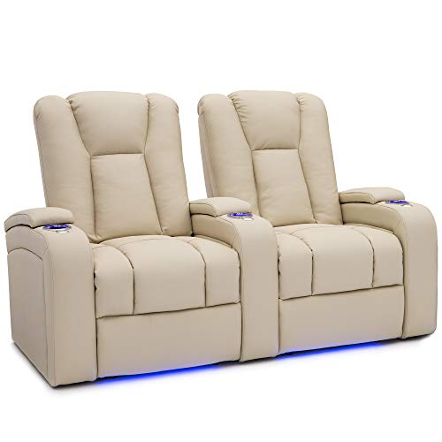 - Seatcraft Serenity Leather Home Theater Seating Power Recline with In-Arm Storage, Lighted Cup Holders, and Ambient Base (Row of 2, Cream)