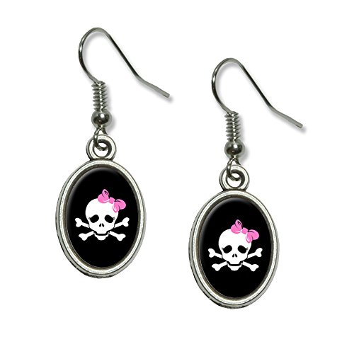 Graphics and More Skulls and Crossbones Daughter Stick Figure Family - Girl Novelty Dangling Drop Oval Charm (Stick Figure Family Costume)