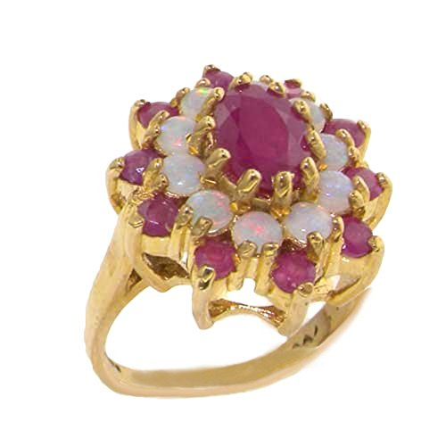 LetsBuyGold 14k Yellow Gold Natural Ruby and Opal Womens Cluster Ring - Size - Cluster Ring Ruby