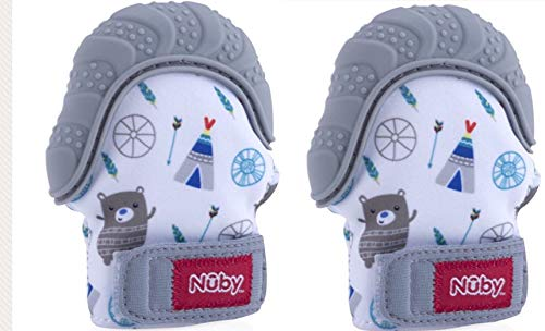 Nuby Soothing Teething Mitten with Hygienic Travel Bag (Grey) (2 Pack)