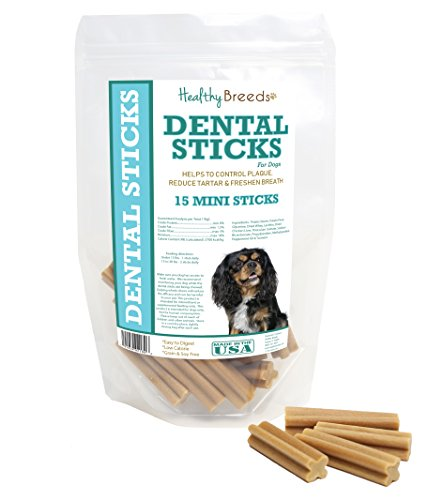 Healthy Breeds Dog Dental Chews for Cavalier King Charles Spaniel - OVER 200 BREEDS - Easier Than Wipes Rinses Spray Toothbrush or Toothpaste - 15 Mini Sticks