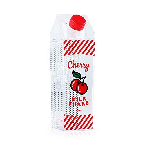 (Cherry Water Bottle by Mustard   Reusable Water Bottle   Fun Water Bottle   Retro Milk Carton Shaped Water Bottle   Holds 500ml)