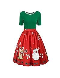 Clearance Women Short Sleeve Christmas Vintage Dress A Line Casual Swing Dress