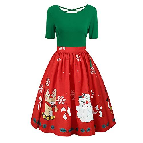 PASATO 2018 Fashion Womens Plus Size Christmas Print Criss Cross Gown Evening Party Dress Cearance(Green,XXL=US:XL)