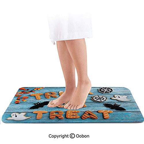 Halloween Bath Mat,Fresh Trick or Treat Gingerbread Cookies on Blue Wooden Table Spider Web Ghost Decorative,Plush Bathroom Decor Mat with Non Slip Backing,36 X 24 Inches,Multicolor