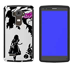 633 - Alice in Wonderland cheshire cat and rabbit Design LG G3 Full Body CASE With Build in Screen Protector Rubber Defender Shockproof Heavy Duty Builders Protective Cover