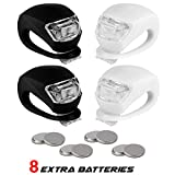 Stupidbright BLINK4 Mini Silicone Strap ON LED Bike Light – 8 Extra Batteries- 4 Lights – 2 Front & Rear Bike Light Set – Black & White