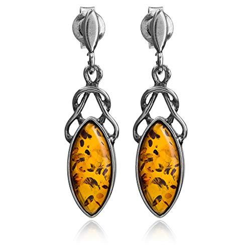 Sterling Silver Amber Celtic Design Marquis Dangle Earrings