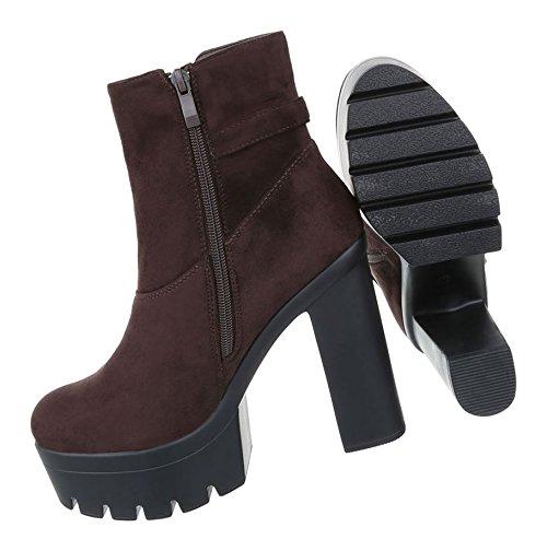 Damen Schuhe Stiefeletten   Gothic High Heels   Plateau Strass Boots   Sky Heels   Damenschuhe Stiefeletten   Leder-Optik Booties   Schuhcity24 Dunkelbraun