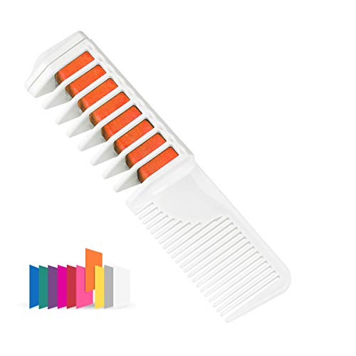 Maydear Temporary Hair Chalk Comb - Non Toxic Hair Color Comb and Safe for Kids (Orange) ()