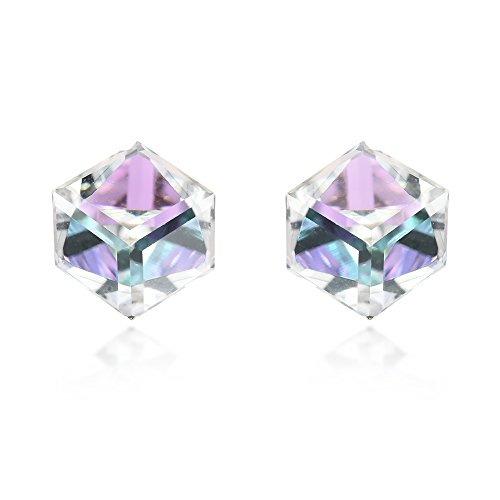 3.5 mm Light Blue-Purple Fashion Crystal Cube .925 Sterling Silver Stud Earrings -