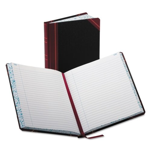 Record Book, Ruled, 300 Pages, 9-5/8 quot;x7-5/8 quot;, Black/Red by Boorum & Pease