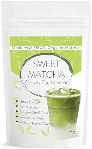 12oz Japanese Sweet Matcha Green Tea Powder Natural Mix | Made with 100% Organic Matcha | Perfect for Green Tea Latte or Frappe | Vegan | Vegetarian | Matcha Outlet