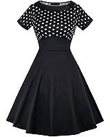 MISSJOY Women's Vintage Short Sleeve Polka Dots Cotton 1950s Cocktail Party Dress