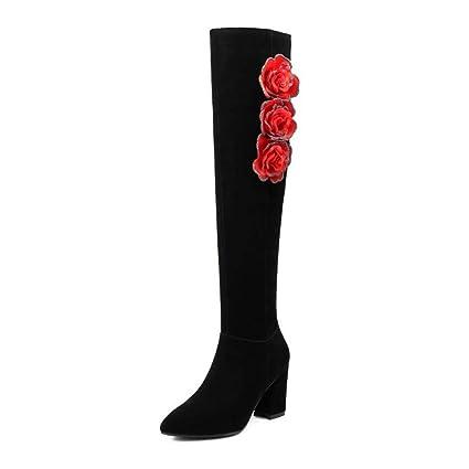 5fe4ba744e7a1 Amazon.com: YaXuan Women High Heel Boots, Round Toe, Over Knee Boots ...