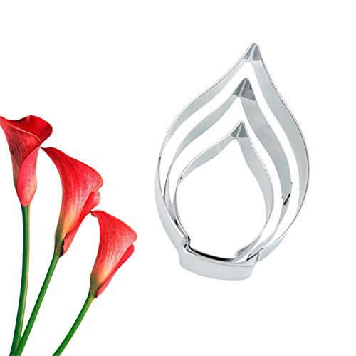 G.G.W 3PCS Calla Lily Petal Stainless Steel Cup Cake Fondant Sugarcraft Cookie Cutters Cake Decorating Plunger Cutters Icing Modelling Tool ()